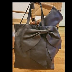 RED Valentino black leather bow tote